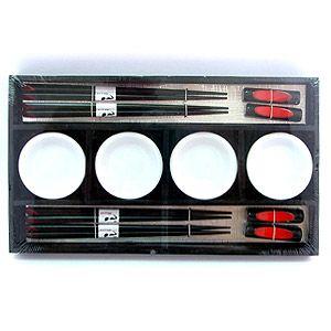 Набор для суши на 4 персоны черно-белый