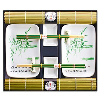 """Набор для суши на 2 персоны """"Бамбук"""" с ковриками зеленый"""