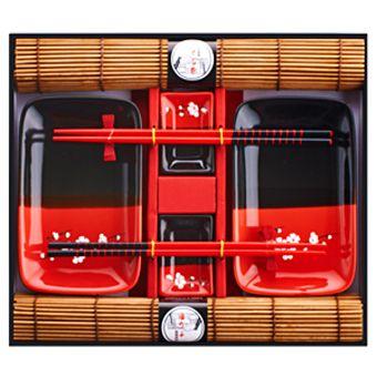 Набор для суши для двоих красно-черный
