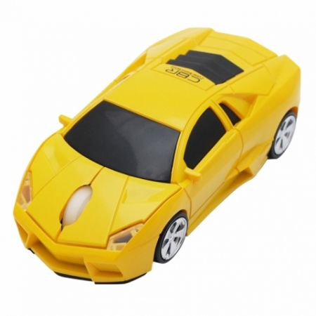 Мышь машинка «Lamborgini» беспроводная сувенирная желтая