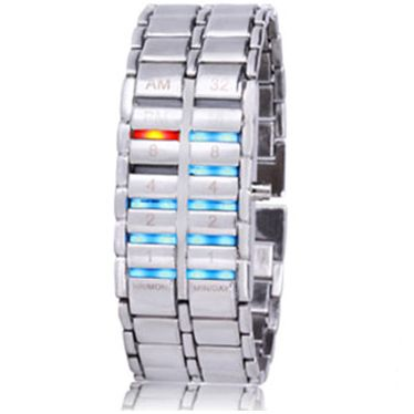 Led Watch - часы Самурай V2 бинарные наручные серебристые