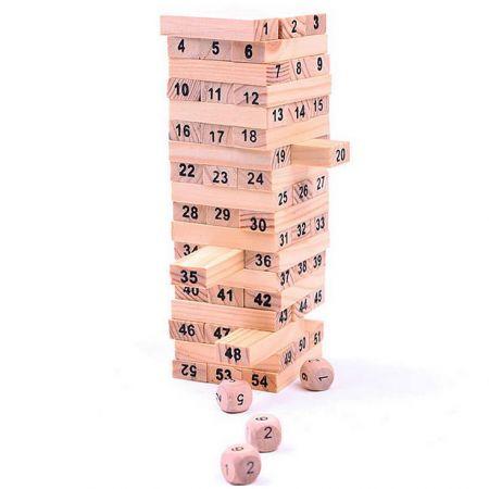 Настольная игра Башня 54 блока jenga с цифрами