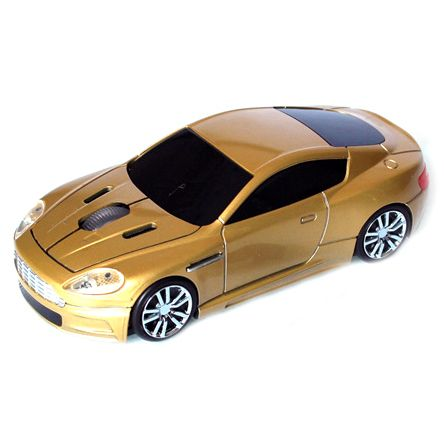 """Мышь - машинка """"Aston Martin"""" беспроводная 2,4GHz золотая"""