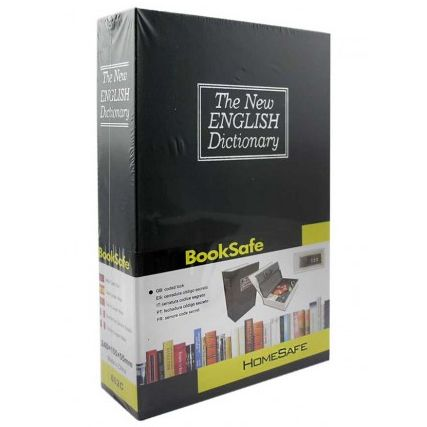 Книга сейф с ключом и замком металлический черный 24х15.5х5.5 см
