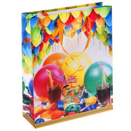"Пакет L ""С Днём Рождения шарики""  26 х 32 х 9 см"