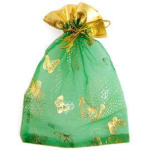 Мешочек для подарков, зелёный, 13х18 см