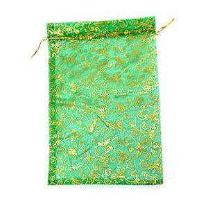 Мешочек для подарков, зелёный, 24х35 см