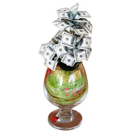 Денежное дерево в бокале 100$