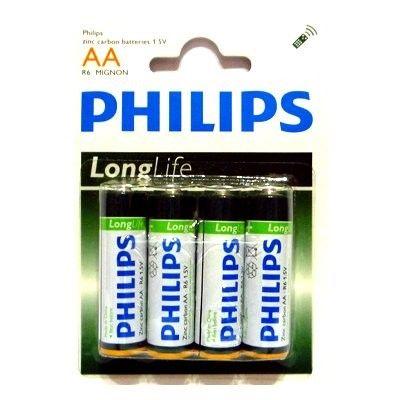 Батарейка 1.5V AA (Пальчиковая большая) Philips R6 Long Life