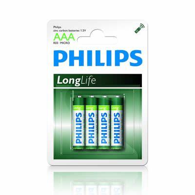 Батарейка 1.5V AAA (Пальчиковая маленькая) Philips R 03 Long Life