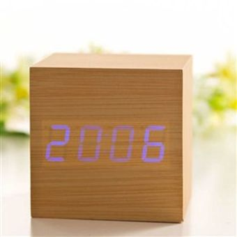 Часы-будильник Куб светлый бамбук синие цифры