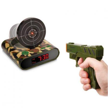 """Будильник пистолет с мишенью """"Меткий стрелок"""" милитари с USB"""