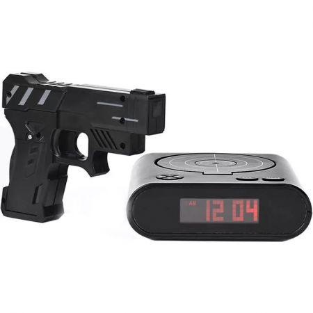 """Будильник пистолет с мишенью """"Меткий стрелок"""" черный с USB"""