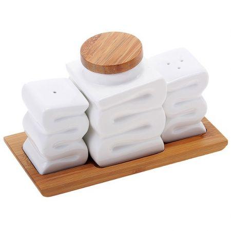 Набор из 3-х банок для специй на деревянной подставке Волна