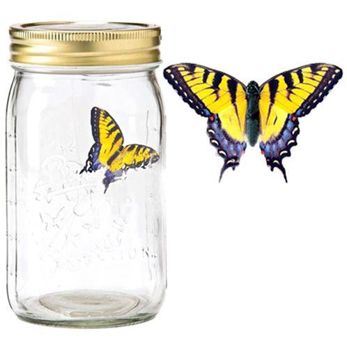 Электронная бабочка в банке Желтый Махаон с подсветкой