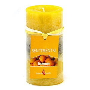 "Свеча ""Sentimental"", запах-лимон, 170 гр, 10 см"