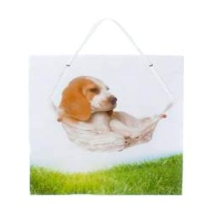 "Пакет подарочный ""Пес в гамаке"" L (26х32,4х12,7см)"