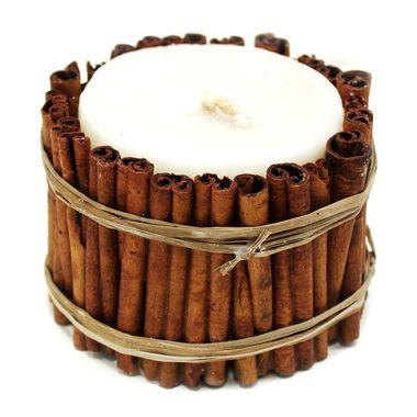 Свеча декоративная ручной работы Корица + Сандал 8х6см