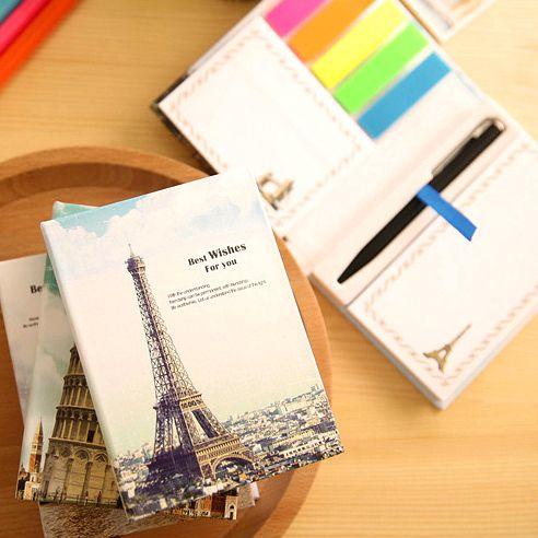 """Книга для записей с ручкой и стикерами """"Эйфелева башня"""""""